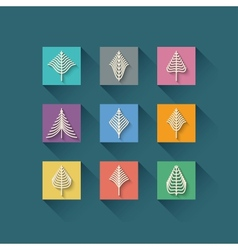 Abstract christmas tree in flat style on orange vector image