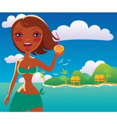 Girl on the ocean beach vector