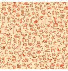 Doodle spa elements seamless background vector