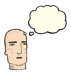 Cartoon bald tough guy with thought bubble vector