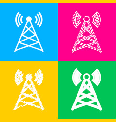 antenna sign four styles of icon on vector image