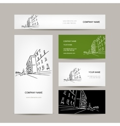 Business cards design with cityscape sketch vector