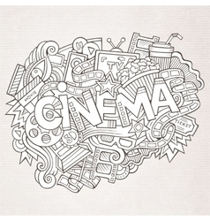 Cartoon cute doodles hand drawn Cinema inscription vector image vector image
