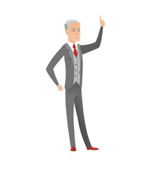 Caucasian businessman pointing his forefinger up vector