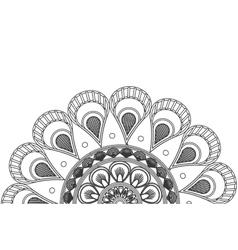 Circular decorative line half mandala icon vector