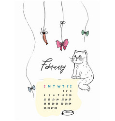 doodle kitty calendar for february 2018 vector image vector image