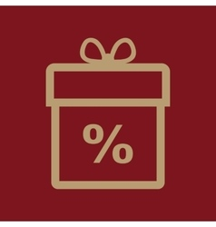 Gift box icon discount present symbol flat vector