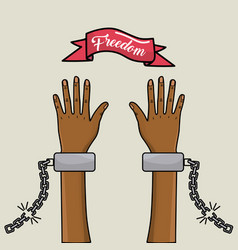 Hands up with chains and ribbon with special vector