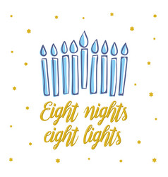 happy hanukkah eight nights eight lights vector image