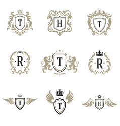 luxury monogram logos templates objects set vector image
