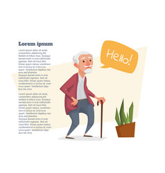 Old man with a cane and a bubble for text vector