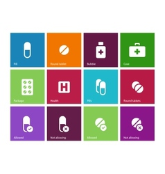 Pills medication icons on color background vector image