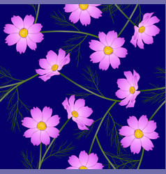 pink cosmos flower on blue background vector image vector image