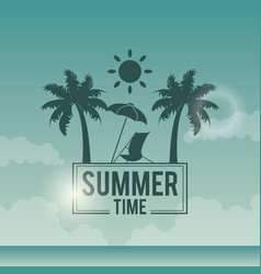 Poster sky ocean landscape of logo text summer vector