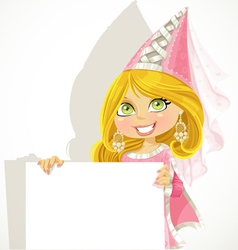 Pretty princess holding a blank banner vector image