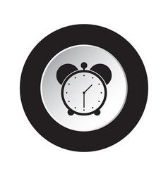 round black and white button - alarm clock icon vector image vector image