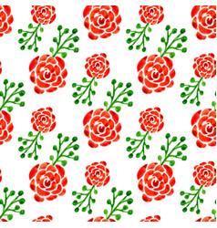 Seamless pattern with watercolor roses floral vector