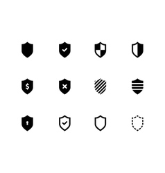 Shield icons on white background vector image vector image