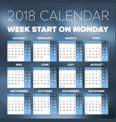 Simple 2018 year calendar vector