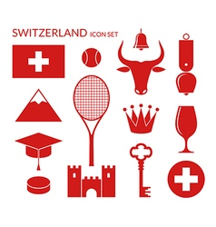 Switzerland icon set vector