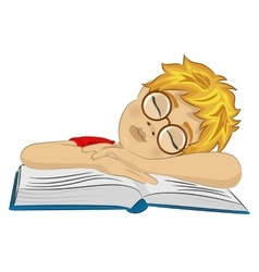 Teenager boy fallen asleep on his book vector