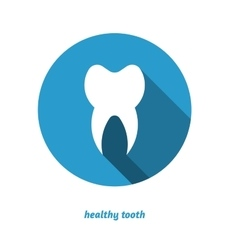 Tooth in circle flat style icon long shadow vector