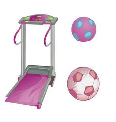 Treadmill and soccer balls flat style vector