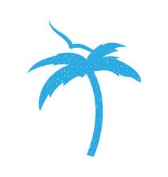 Tree palm beach with gulls vector