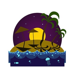 Tropical island beach at night vector image
