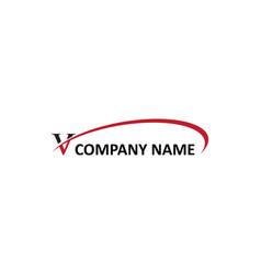 V letter swoosh logo vector