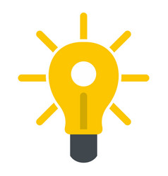 yellow glowing light bulb icon isolated vector image
