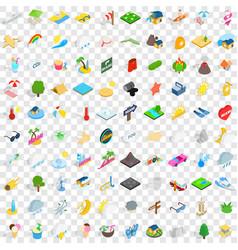 100 sunshine icons set isometric 3d style vector