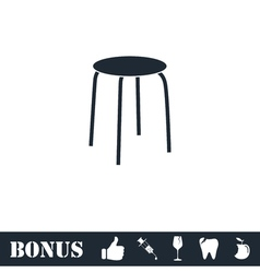 Stool icon flat vector