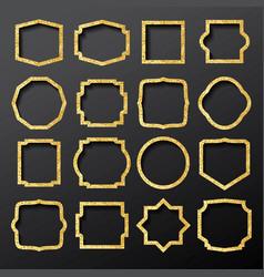 golden frames set with glitter texture vector image