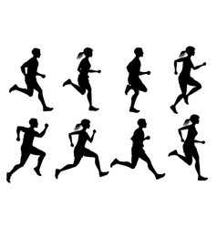 Running male and female jogging people vector