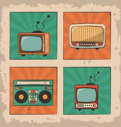 vintage tv radio retro device image vector image