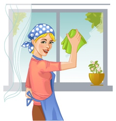 Woman washes window eps10 vector