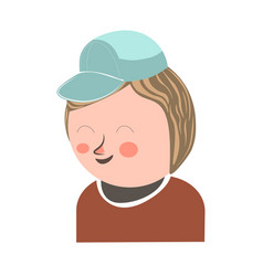 Cheerful laughing boy in cap closeup poster vector