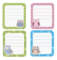 cute cards or stickers with owl cute cards or vector image