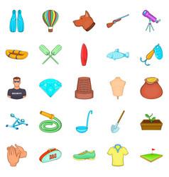 Theatrical hobby icons set cartoon style vector