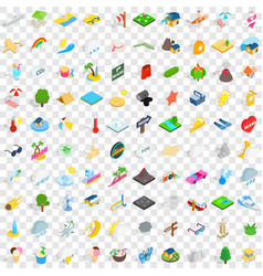 100 sunshine icons set isometric 3d style vector