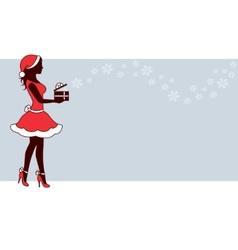 Christmas woman with gift vector image