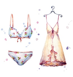 Watercolor lingerie hand painted vector