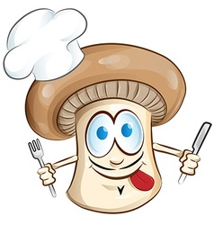 Mushroom chef cartoon vector
