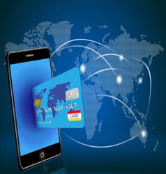 Smart phone with credit card on global map vector