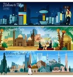 Eastern cityscape 3 flat banners set vector