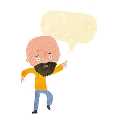 Cartoon worried old man pointing with speech vector