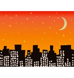 City silhouette at night with stars and moon vector