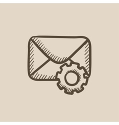 Envelope mail with gear sketch icon vector