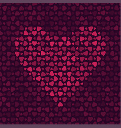 abstract pattern with hearts on dark background vector image vector image